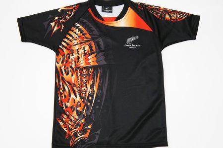 Tシャツ、ブラック×レッド
