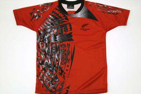 Tシャツ、レッド×ブラック