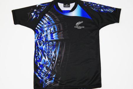 Tシャツ、ブラック×ブルー